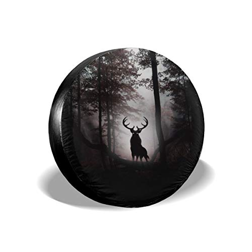 Marcus Roberta Deer Fantasy Artwork Spare Wheel Tire Cover Universal Fit for Jeep/Trailer/RV/SUV