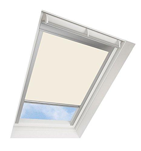 Darkona ® Dachfensterrollo für VELUX-Dachfenster - Verdunkelungsrollo - Zahlreiche Farben/Zahlreiche Größen (SK06, Creme) - Silberner Aluminiumrahmen