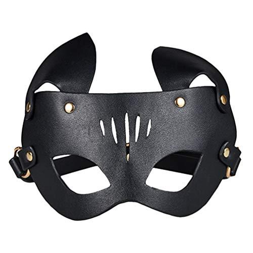 HEALLILY Erwachsene Augenbinde Sm Spielzeug Pu Leder Augenklappe BDSM Bondage Flirt Spielzeug für Paar Liebhaber Bett Rollenspiel (Schwarz)