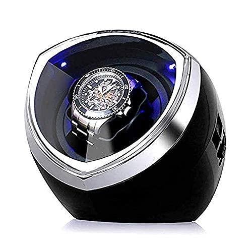 AMAFS Enrollador de Reloj automático Individual con Control de Temporizador Inteligente y luz LED, Motor silencioso y 4 Modos de roating, Negro Festival
