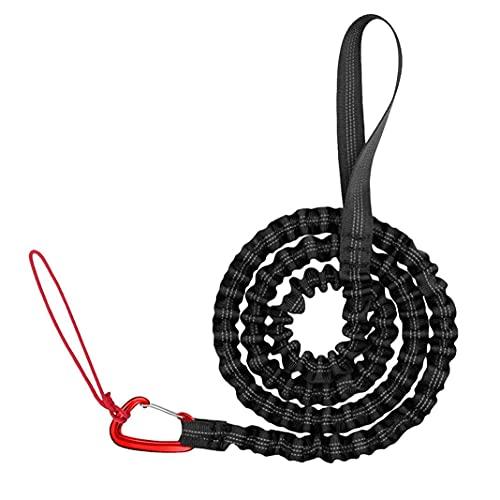 Cuerda de remolque para bicicleta de montaña para niños, flexible, de nailon trenzado, compatible con cualquier bicicleta, bicicleta de montaña, color negro