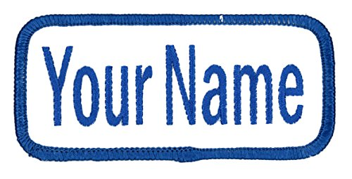 Name Patch Uniform Work Shirt Personalized Embroidered White with Blue Border. Iron on.