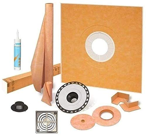 """Schluter Kerdi Shower Kit 48"""" x 48"""" Shower Tray (KSK1220) with 2"""" ABS Bonding Flange, Wedi Joint Sealant and 4"""" Stainless Steel Brushed Nickel Grate"""