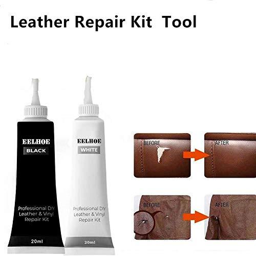 2PCS Advanced Leather Repair Gel , Reparaturen und Ausbesserungen [Kratzer, Flecken und Risse wiederherstellen] an farbigen Sofas, Autositzen, Schuhen, Handtaschen oder Armaturenbrettern (Weiß)