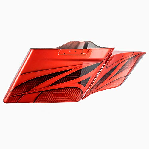 Lowest Prices! Laguna Orange 4 1/2 inch Stretched Saddlebags Ravager Series Airbrushed Extended Side...