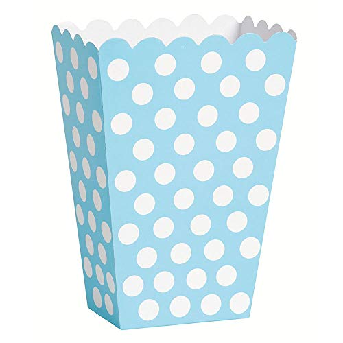 Unique Party 59299 - Baby Blue Polka Dot Popcorn Treat Boxes, Pack of 8