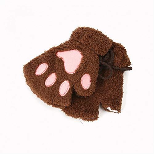 ZXCVWY Frauen-Winter-Nette Reizende Katzen-Greifer-Tatze-Handschuh-Katzen-Greifer-Tatze-Handschuh-Plüsch-Handschuhe Kurzfinger-Warme Weiche Bärn-Katzen-Handschuhe