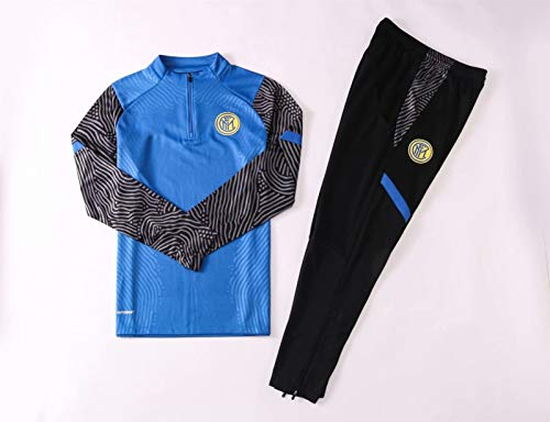 LZMX Football Club-Spiel-Uniform Inter Mailand Fußballtraining Uniform Langarmhemd + Pants Offizielle Fußball-Geschenk Trainingsanzug 2-teilig Anzug (Size : M)