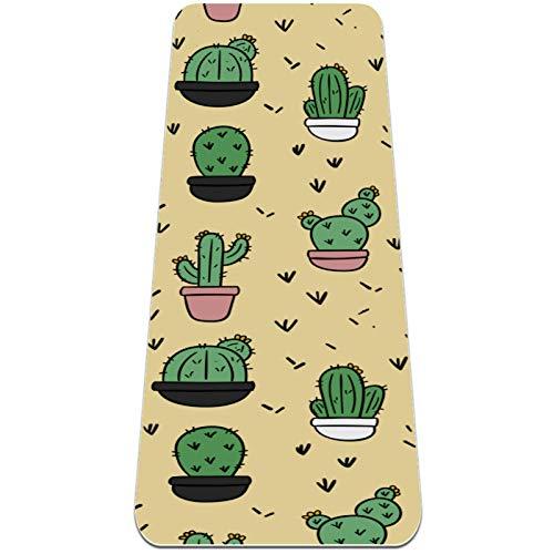 Esterilla de yoga de cactus de dibujos animados gruesa antideslizante para mujeres y niñas Yoga | Pilates | Ejercicios de piso (72 x 24 pulgadas, 1/4 pulgadas de grosor)