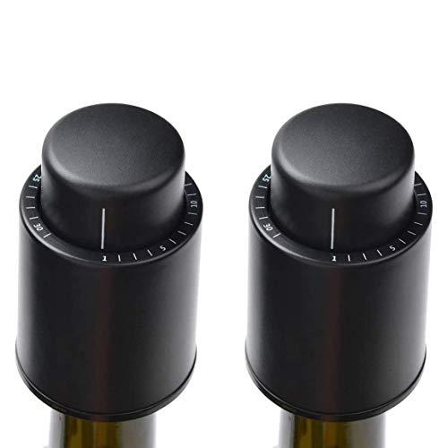 Jcevium Pack de 2 tapones de vacío para botellas de vino, con escala de tiempo, reutilizables, protectores