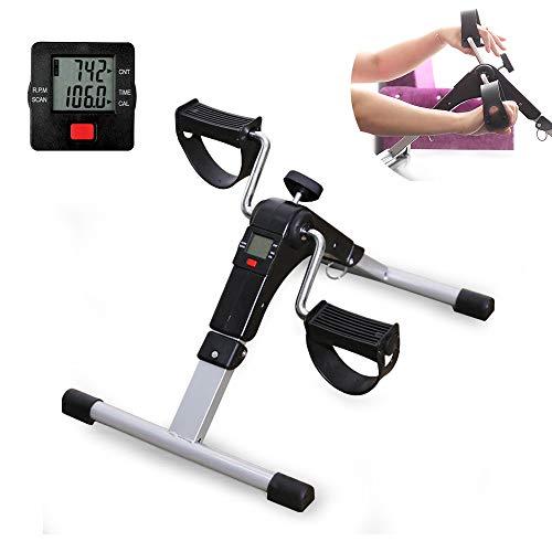 MMJJQWE Ejercitador de Pedal Plegable, máquina de Venta Ambulante de Brazos y piernas con Monitor LCD, para Equipo de Ejercicio estacionario Debajo del Escritorio Ejercicio de Venta Ambulante
