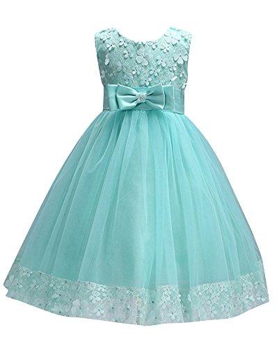 LaoZan Mädchen Kinder Festkleider Elegante Partykleider Hochzeitskleider Brautjungfernkleider Prinzessin Kleid Apfelgrün für 130CM