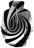 SunFocus Sudadera con Capucha para Hombre Mujer Manga Larga 3D gráfico Espiral patrón Adultos Adolescentes Negro Blanco Sudadera Jerseys Casuales para la Calle Ropa Deportiva M