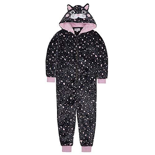 FILLES TOUT EN UN Nouveauté Pyjama en Magnifique Noir Motif Chat Souple DE LUXE POLAIRE 2-13 An -...