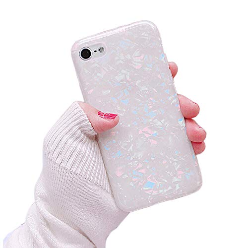 Dailylux Case for iPod Touch 7, iPod Touch 6, iPod Touch 5, Cute Phone Case Glitter Pearly-Lustre Slim Shell Protective Soft TPU Back Cover for Girls Women, Colorful
