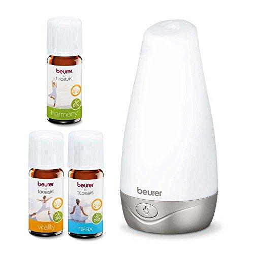 1 Set Beurer Aroma Diffuser LA30 Luftbefeuchter Ultraschall LED Farben Aromatherapie + 3 wasserlösliche Bio-Aromaöle