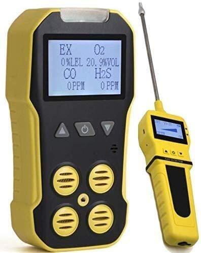 ZUQIEE Portable Multi detector de gas Analizador + Bomba, portátil multi gas del monitor del detector Analizador de Gas con sonido, vibración Luz Alarmas, Gran pantalla de luz de fondo