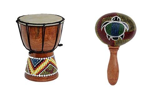 20cm Kinder Djembe Trommel Bongo Drum Deko Bunt Bemalt + Rassel Schildkröte R1