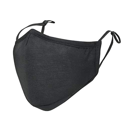 ililily Black Cotton Washable Nose Wired Face Mask Filter Pocket Wide Cover With Filter (Black)