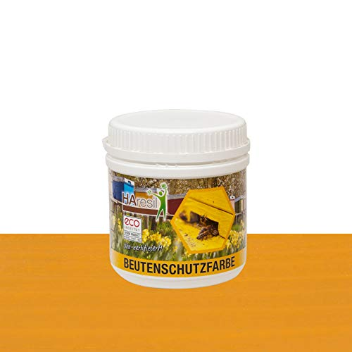 HAresil Beutenschutzfarbe Beutenschutz Bienen Beuten Lasur Farbe kieferngelb Inhalt Gewicht 0,5 kg