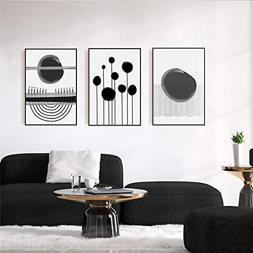 SGFG Pintura de Lienzo geométrica línea de Tinta Negra Cartel de Arte de Pared e imágenes Impresas Noridc minimalismo Sala de Estar decoración del hogar 50x70cmx3 sin Marco