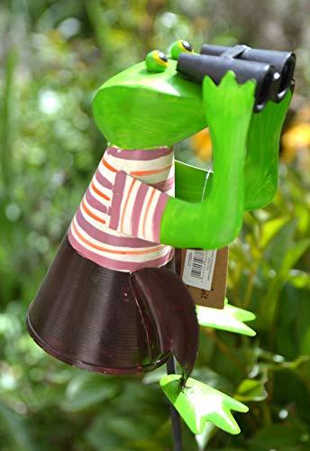 Zaunhocker Frosch mit Fernglas-lustiger Zaungucker Gartenfrosch -Gartenzaungucker für Haus und Garten,stabile Ausführung