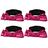 EleCharm Sleep Mask Silk Satin Eye Mask Blindfold Band Light Cover Multi-Functional 59inch (Rose red w Black 4pcs)