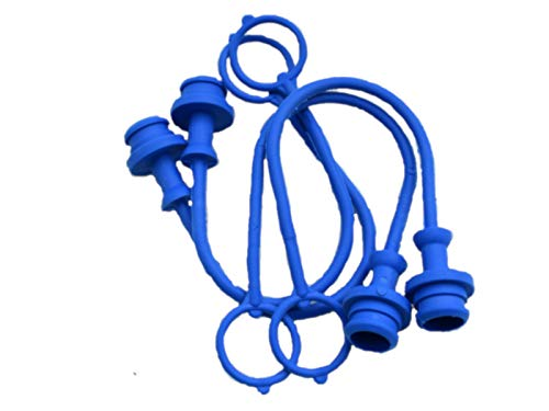 Grunge Armor | 4-Pack | Dust Plug, Fits Female ISO/Pioneer Style Hydraulic Quick connectors Like 4050-4, 6601-8-10, and Others. Blue Molded Cap with Retention Ring Keeps Cap Attached to Hose