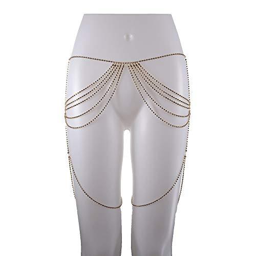 Collares de las mujeres Diamante Cadena del vientre Cadena retro Cinturón de cintura Playa Bikini Traje de baño Joyería del cuerpo Chispeante Cadena de cuerpo del muslo Unibody Para mujeres