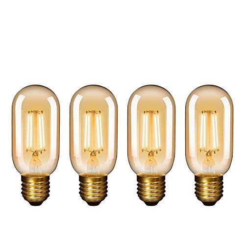 Lamparas Bombillas Edison de Filamento de LED E27 4.5W T45 Vintage Retro Antigua Luz Calida 2400K 450Lm Equivalente 40W Bombillas Incandescentes AC220-240V Pack de 4 de Enuotek