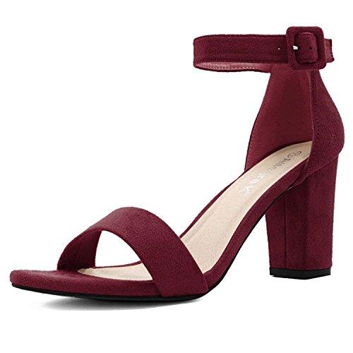 Allegra K Women's Chunky High Heel Ankle Strap Sandals (Size US 9) Burgundy