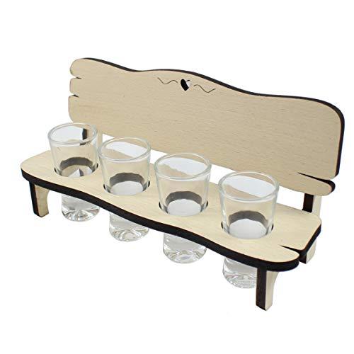 Schnapstablett Holzbank Schnapsbank aus Holz Tablett inkl 4 Gläser Schnapsgläser Holztablett aus Buche mit Herz ohne Gravur