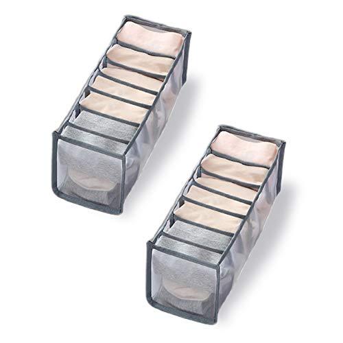 None/Brand Lmbqye Unterwäsche Aufbewahrungsbox, 2PCS Schubladen rganisation Kommode Schubladen Organizer Faltbare Aufbewahrungsbox für BHS, Socken, Schals und Taschentücher (Farbe: Grau)