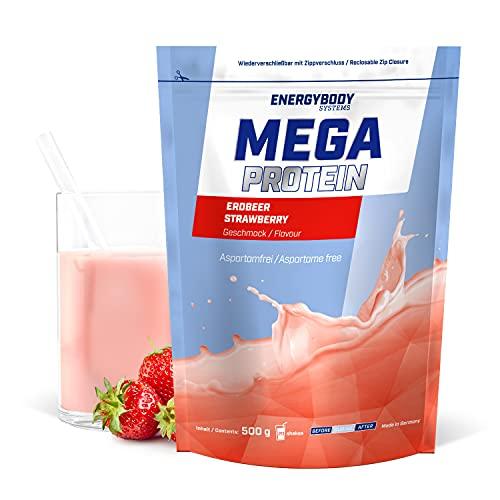 """Energybody Mega Protein """"Erdbeer"""" 500 g/Mehrkomponenten Protein mit Casein Whey Mix als Eiweißshake/Eiweisspulver ohne Aspartam/Protein-Pulver / 20 Portionen"""