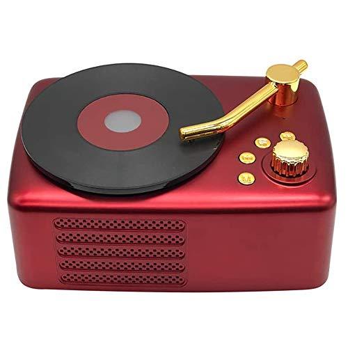 Angelay-Tian Altavoz Bluetooth Recargable, Reproductor de grabación de gramófono Soporte Bluetooth/Tarjeta de Plug-in/AUX Audio/U Disco for el hogar, al Aire Libre, Fiesta, Viajes (Color : A)