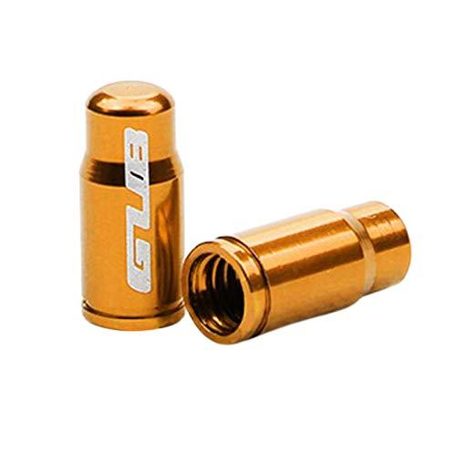Par de tapa de válvula de neumático de bicicleta de aleación de aluminio para Presta francés/Schrader boquilla americana tapa de vástago de neumático - FV de oro