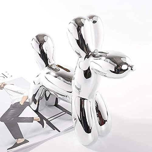 Figura decorativa de perro globo – Figura de animal – Escultura artística – Grande – Plata