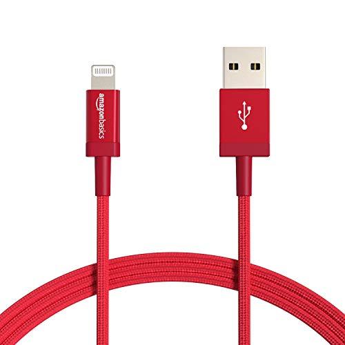 AmazonBasics – Verbindungskabel Lightning auf USB-A, Nylon-umflochten, MFi-zertifiziertes Ladekabel für iPhone, rot, 1,82 m