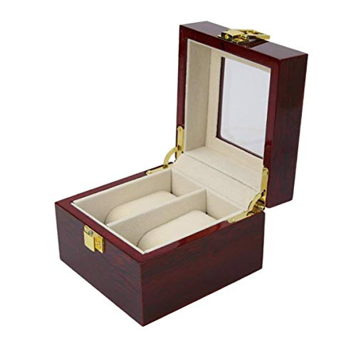 2 Inserire Griglia Slot & 2 Leather Pads PU Rimovibile Contenitore di vigilanza di Caso di Esposizione dellorganizzatore dellorganizzatore di immagazzinaggio Gioielli