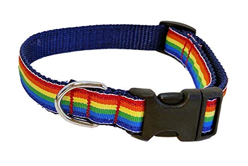 Collar de Perro Preston Rainbow – Cinta de Rayas Multicolor en Correa de Nailon Azul Marino