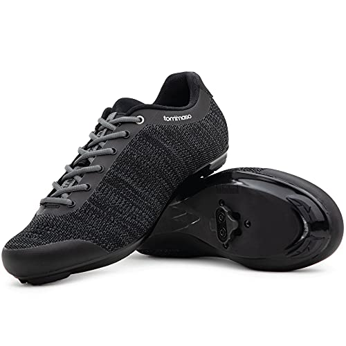 Tommaso Strada Aria Knit Lace Up Indoor Cycling Shoe with SPD Cleat, Black - 42