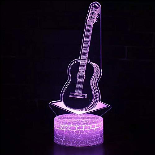 Hermoso instrumento musical guitarra base de grietas lámpara de mesa pequeña luz visual 3D acrílico multicolor luz nocturna luz LED multicolor decoración creativa regalo