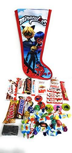 Calza Befana MIRACULOUS Con Accessori Personaggio Con Cioccolatini Kinder e Caramelle Assortite.