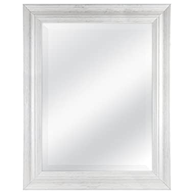 MCS 18x24 Inch Scoop Mirror, 23.5x29.5 Inch Overall Size, White Wash (20547)