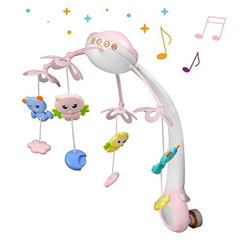 Móvil para bebés 3 en 1 con caja de música, luz nocturna, ruido blanco y proyector de luz de estrellas, equipo móvil de música para bebés desde el nacimiento (rosa)