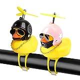 Decoraciones de bicicleta de pato, adornos para autos de pato, pato fresco con casco como accesorios de campana de bicicleta de motocicleta para niños, adolescentes y adultos (Negro 8+Estrella Rosa)