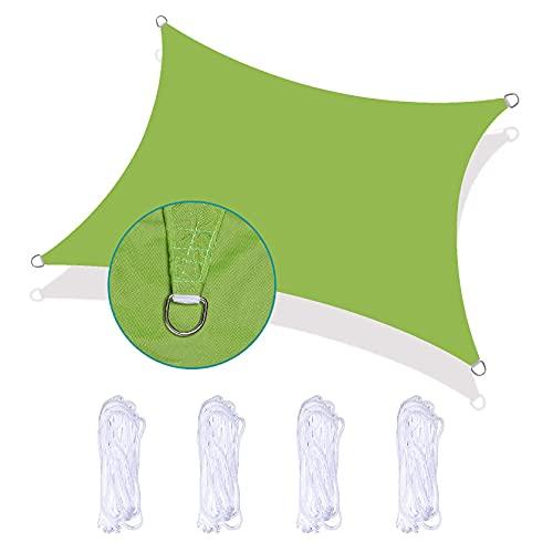 XISENOCI Toldo Rectangular de Vela de 5 x 7 m, 95% Anti-UV e Impermeable, Resistente al Desgaste, Resistente a Altas temperaturas, fácil de Instalar para jardín, Patio, Piscina, Verde
