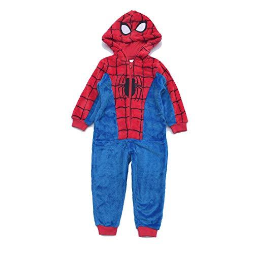 LINLIN Boy Kid Superheld Spiderman Jumpsuits Pyjamas Halloween Polar Fleece Morgenmantel mit Hut Pyjama Unisex Badezimmer Nachtwäsche Set,Kids /3XL/128cm