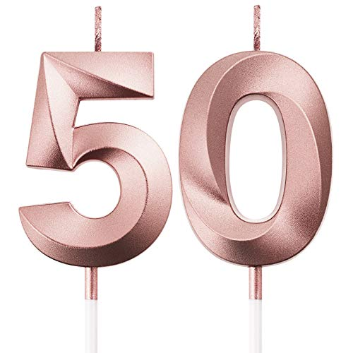 BBTO 50th Birthday Candles Cake Numeral Candles Happy Birthday Cake Topper Decoration for Birthday Party Wedding Anniversary Celebration Supplies (Rose Gold)