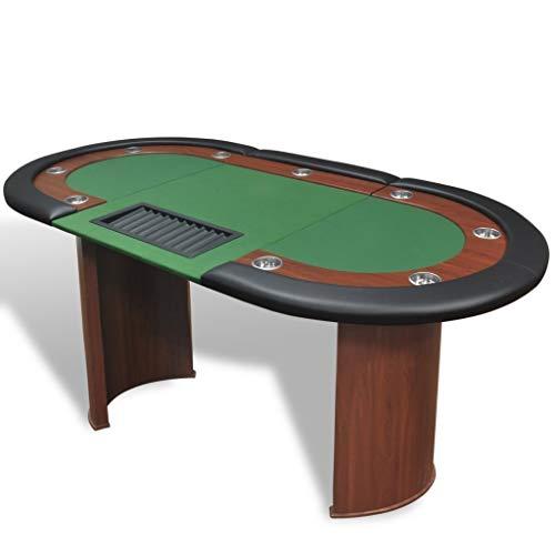 Directachat56 Table de Poker Luxe,9 Personnes, 3 Couleurs de Tapis au Choix (Vert)